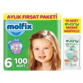 Molfix Bebek Bezi 6 Beden Ekstra Large Aylık Fırsat Paketi 100 Adet + Evony Maske 10lu Hediyeli