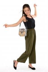 Kadın Kuşaklı Haki Bol Pantolon