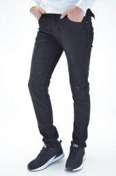 ds danlıspor  Siyah Yıpratmalı Skinny Slim Fit Erkek Kot Pantolon