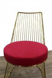 Bengi Börekçi Sandalye Çelik Gold Kırmızı 1...