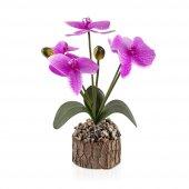 Taşlı Kütük Saksıda Yapay Islak Orkide