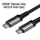 Samsung Galaxy A70 Görüntü Aktarma Kablosu Type C to Type C 10Gbps 4K Süper Hızlı Şarj Data PD 100W