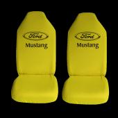 Ford Mustang Özel Araba Oto Koltuk Kılıfı Ön Arka Takım Sarı Penye Araca Özel Baskılı