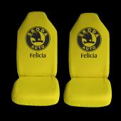 Skoda Felicia Özel Araba Oto Koltuk Kılıfı Ön Arka Takım Sarı Penye Araca Özel Baskılı