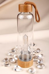 Kristal Kuvars Doğal Taş Bambu Kapaklı Su...
