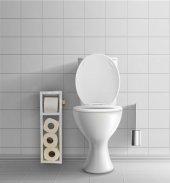 Beyaz Ahşap Tuvalet Kağıtlığı Wc Tuvalet Stand...