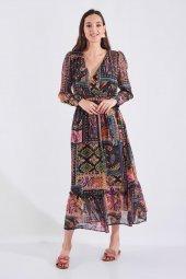Etnik Desen Uzun Fırfırlı Kemerli Elbise