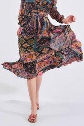 Etnik Desen Uzun Fırfırlı Kemerli Elbise-2