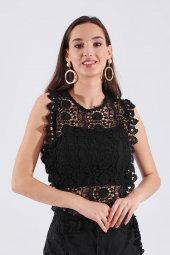 Siyah Tığ İşleme Kadın Bluz