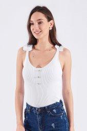 Beyaz Fırfır Askı Düğme Detay İnce Triko Kadın Bluz