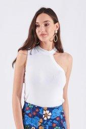 Beyaz Tek Omuz Detaylı Kadın Bluz