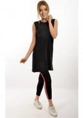 Kadın Tunik Siyah Sıfır Kol Penyeli