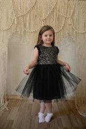 Tütü Etekli Siyah Payet Detaylı Elbise