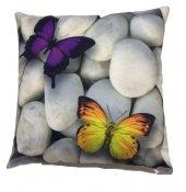 Nevresim Dünyası 3d Dekoratif Kırlent Kılıfı Uçan Kelebekler
