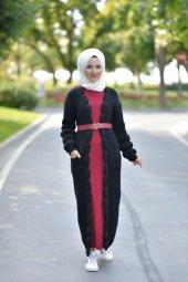 Kemer Detay Triko Elbise Siyah