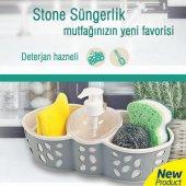 Stone Deterjan Hazneli 4 Bölmeli Süngerlik Mutfak Gereçleri
