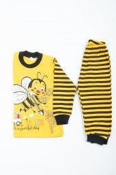 çocuk Arılı Pijama Takımı Sarı