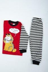 çocuk Kedili Pijama Takımı Kırmızı