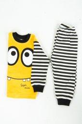 çocuk Gözlü Pijama Takımı Sarı