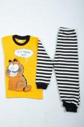 çocuk Kedili Pijama Takımı Sarı
