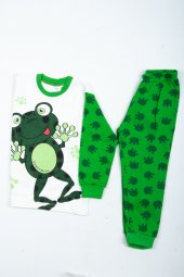 çocuk Kurbağalı Pijama Takımı Beyaz