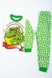 çocuk Timsah Pijama Takımı Yeşil
