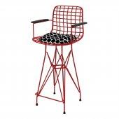 Knsz orta boy tel bar sandalyesi 1 li mağrur lüks minder krmviona kolçaklı 65 cm oturma yüksekliği mutfak bahçe cafe ofis