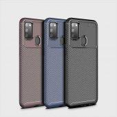 Samsung M21 Negro Silikon Kılıf Focus Fiber Karbon Zore Kamera Korumalı