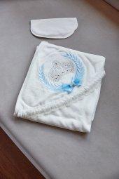 Mavi Prens Taşlı Keseli Banyo Havlusu