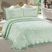 Bonny Home Fransız Dantelli Çift Kişilik Mint Battaniye Takımı Çeyizlik Yatak Örtüsü Seti