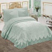 Bonny Home Kalper Fransız Dantelli Çift Kişilik Mint Battaniye Takımı Çeyizlik Yatak Örtüsü Seti