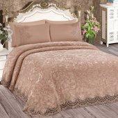 Bonny Home Fransız Dantelli Çift Kişilik Kapuçino Battaniye Takımı Çeyizlik Yatak Örtüsü Seti