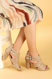 Ayakland 811-51 27 Çupra 7 Cm Topuklu Bayan Sandalet Ayakkabı Ten