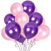 Balon Metalik Sedefli Kaliteli Balon Pembe Mor