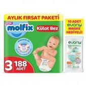 Molfix Külot Bez 3 Beden Midi Aylık Fırsat Paketi 188 Adet + Evony Maske 10lu Hediyeli