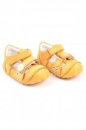 Akıllı Şirin Içi Dışı Hakiki Deri El İşçiliği Ortopedik İlk Adım Bebek Ayakkabısı Sarı