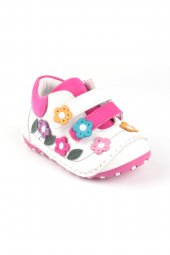Akıllı Şirin Hakiki Deri El Işçiliği Tam Ortopedik Ilk Adım Bebek Ayakkabı Beyaz Pembe