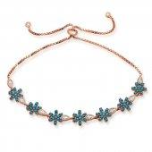 Gümüş Asansörlü Mavi Çiçek Bileklik