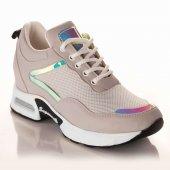 Palet Kadın Günlük Spor Ayakkabı Aynalı Gri...