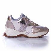 Palet Kadın Günlük Spor Ayakkabı Simli Krem