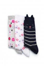 3lü Kız Çocuk Asortili Kedi ve Çiçek Desenli Çorap 8200-B3