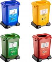 Bvlx Sıfır Atık Geri Dönüşüm Çöp Kutusu Kovası 50 Lt 4lü Set