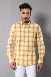 Wessi Erkek Sarı Ekoseli Hakiki Pamuk Slim Fit Gömlek