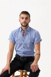 Erkek Gömlek Mavi Kısa