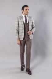Wessie A. Coffee Suit Classic Line Cut Mens New Model Suit Outdoor Coffee Spring Mens Suit Silim Fit Suit Vest Buttoned Suit