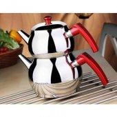 Küre Aile Boy Kırmızı Kulplu Çelik Çaydanlık Seti