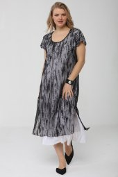 Günay Kadın Elbise Lm24220 İlkbahar Yaz O Yaka Taş Detay Tül-SIYAH