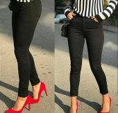 Bayan Likralı Siyah Keten Pantolon