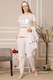 Akbeniz Kadın Somon Renk Pamuklu Cepli 3lü Pijama Takım 1116
