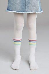 Penti Pretty Rainbow Stripe Külotlu Çorap Beyaz (10)